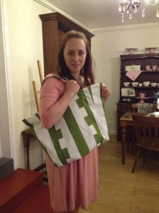 Anne Marie with her tote bag