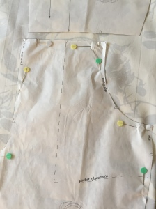 Pinning a pattern to fabric